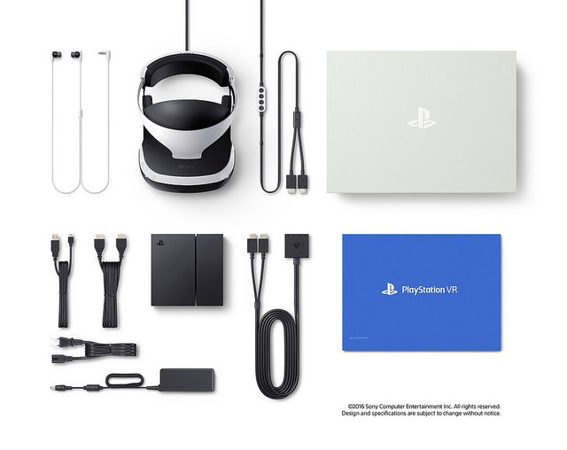 A grouping of what comes with the VR, PS4 not included.