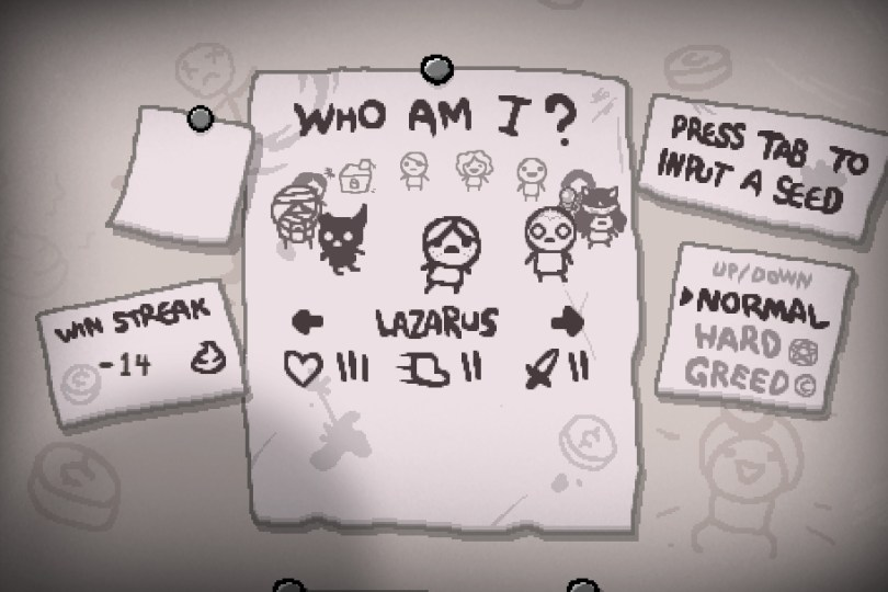 Afterbirth Plus Character Select