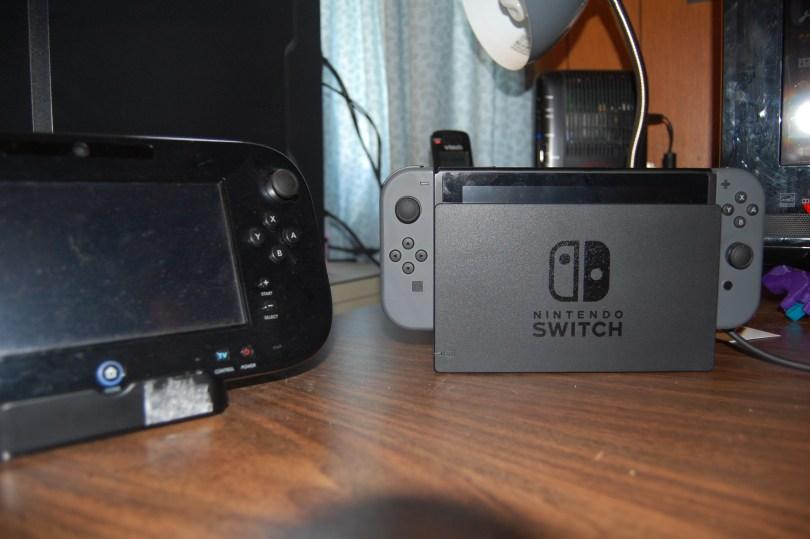 Nintendo Switch next to Wii U