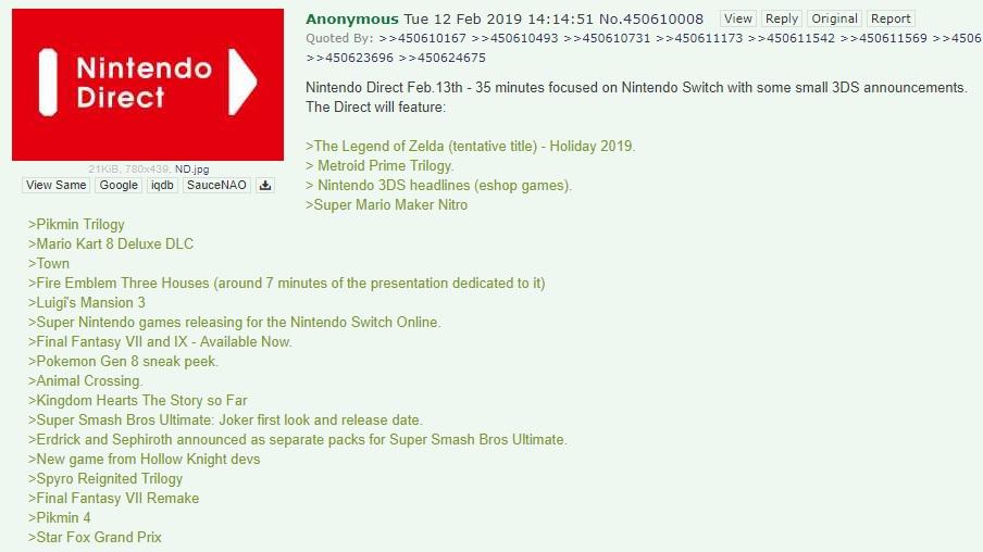 Rumor - List of Games Leaked for February 2019 Nintendo Direct