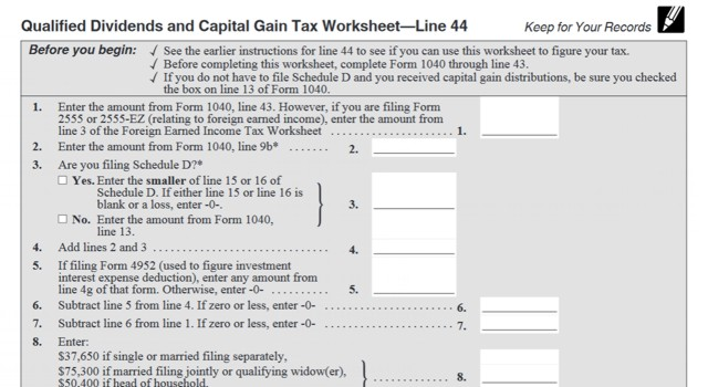 How Your Tax Is Calculated Understanding The Qualified Dividends And Capital Gains Worksheet