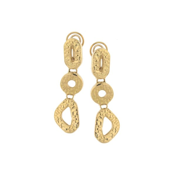 Drop earrings in yellow gold with hammered manufacturing.