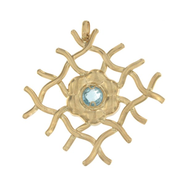 Pendant in yellow gold with topaz.