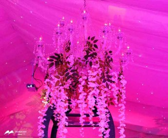 18 branch chandelier with floral accents and pink background
