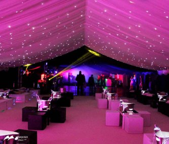 Pink theme party marquee, pink and black cube seating, pink starlight ceiling affect