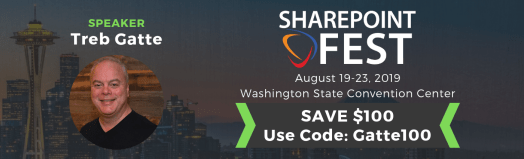 Gett $100 off SharePoint Fest Seattle registration with code Gatte100