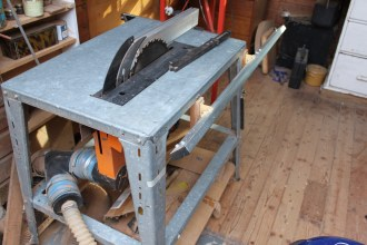 Table saw in machine room