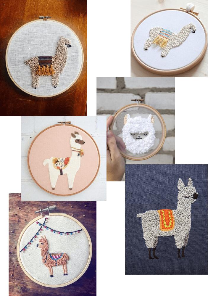 Motif broderie lamas gratuit atelier marquise