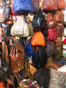 Bags on display showing the range of goods available from Marrakech Bazaar