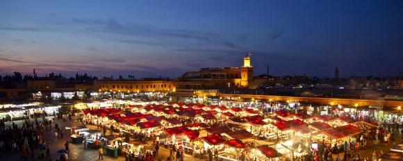 Marrakech Bazaar Market in the evening
