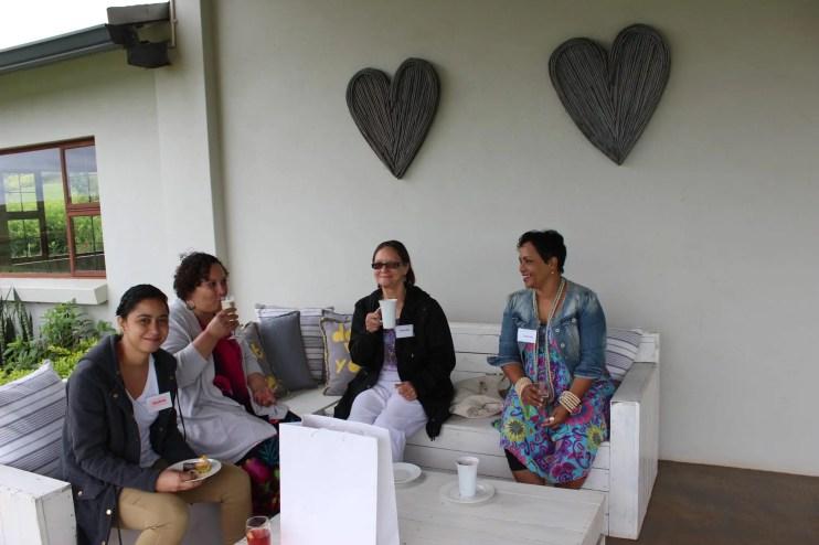 Guests enjoy tea