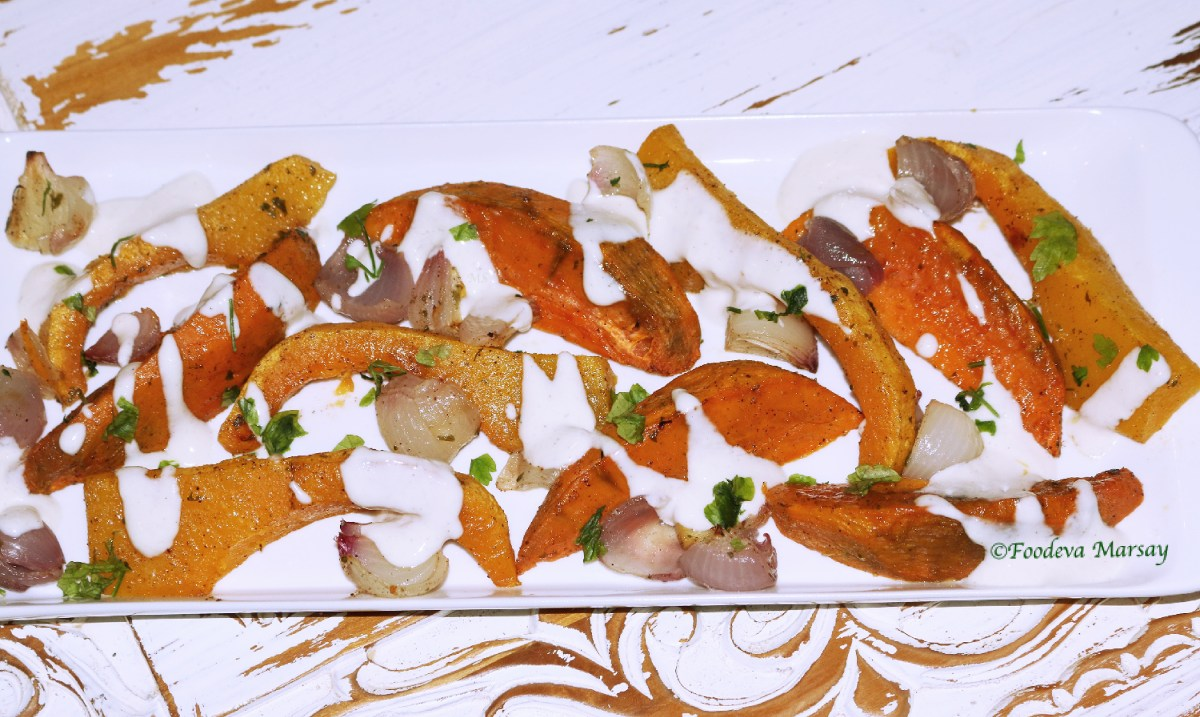 Roasted Sweet Potato and Butternut served with a Yoghurt and Tahini dressing.
