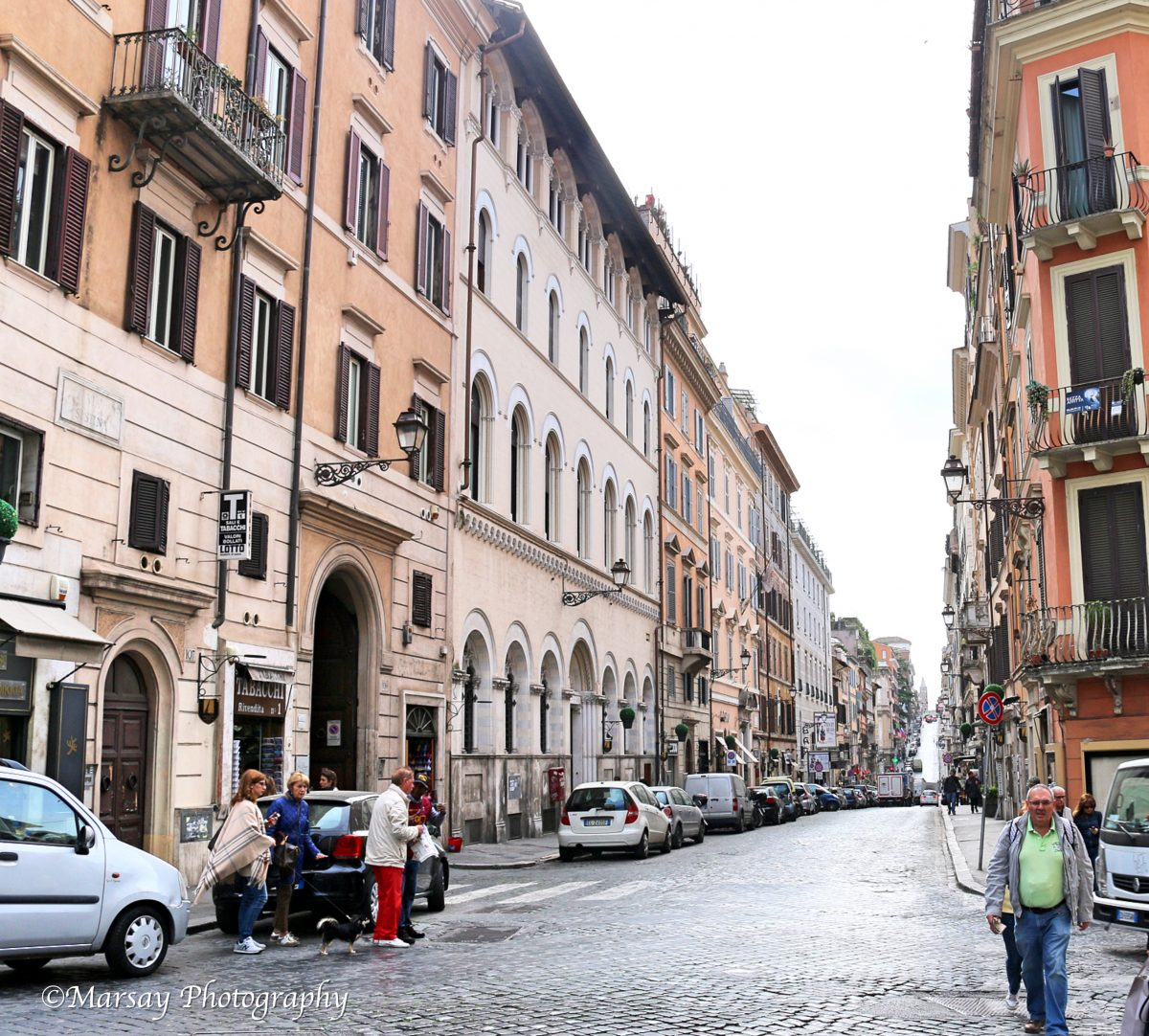 Rows and rows of Buildings, crammed onto more cobbled streets in Rome