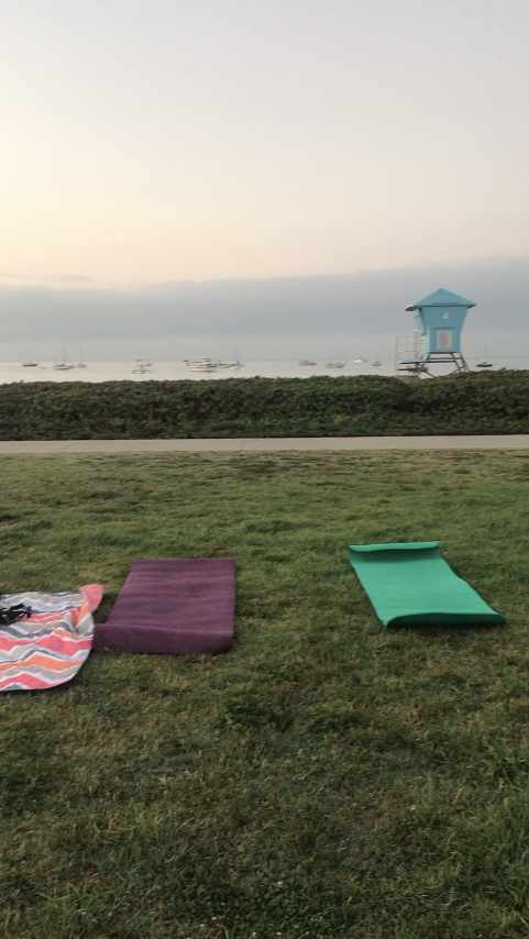Getting Active, yoga mats on the grass overlooking the beach.