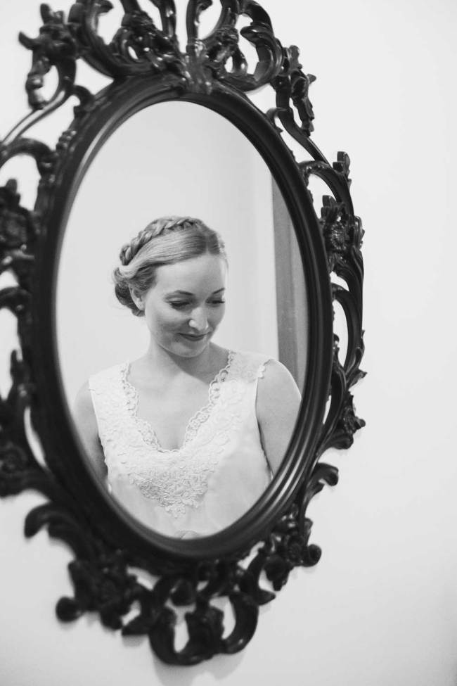 Bride in Iceland seen in mirror