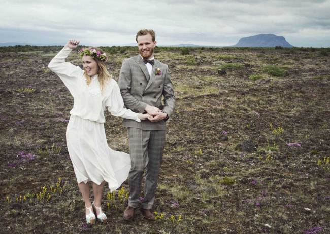 Just married in beautiful landscape in Iceland