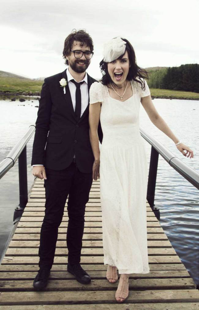 Happy husband and wife in Iceland