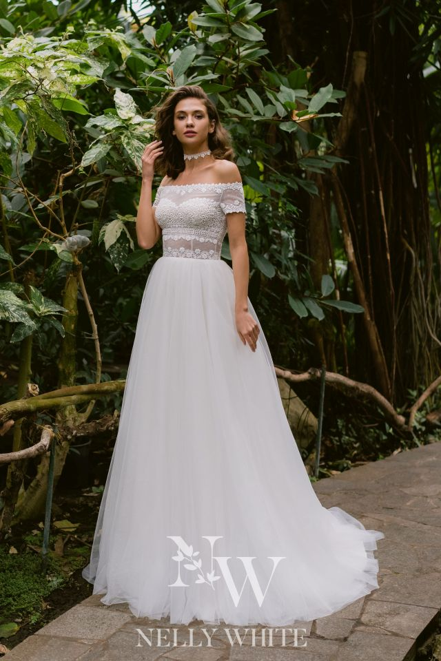 Brautkleid Off-Shoulder Vintage