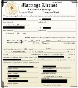 Virtual united states marriage certificate
