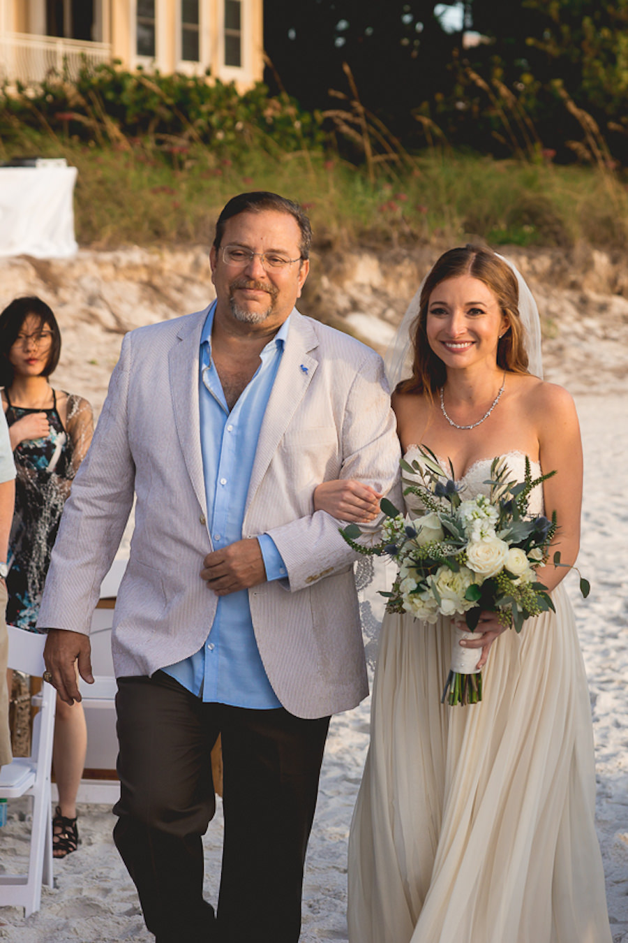Outdoor Florida Beach Waterfront Bride Walking Down Aisle