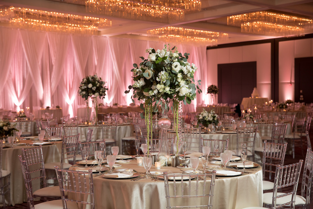 clear chiavari chairs sure fit chair covers walmart winter glam hotel ballroom wedding reception with champagne linens and extra tall centerpieces in geometric glass vases white
