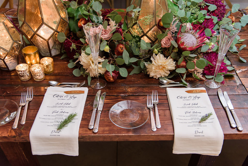 Rustic Wedding Reception Place Setting on Wooden Table
