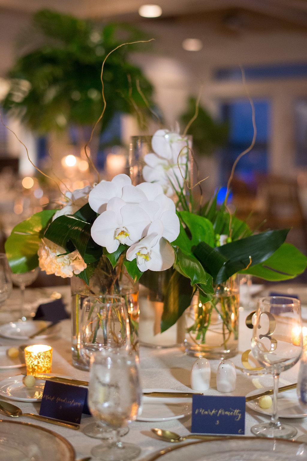 Indoor Wedding Reception Decor Low Centerpiece With White