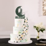 Three Tier White Green And Gold Marble Wedding Cake With Cascading White Flowers And Custom Emerald Green Cake Topper Tampa Bay Wedding Photographer Lifelong Photography Studio Marry Me Tampa Bay