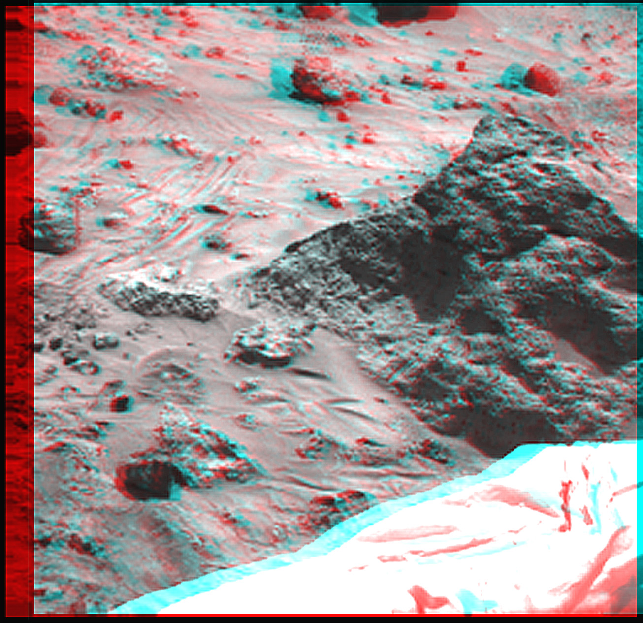 red-cyan anaglyph of martian landscape