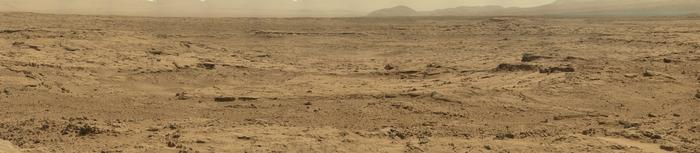 view 'Panoramic View From 'Rocknest' Position of Curiosity Mars Rover (Raw Colors)'