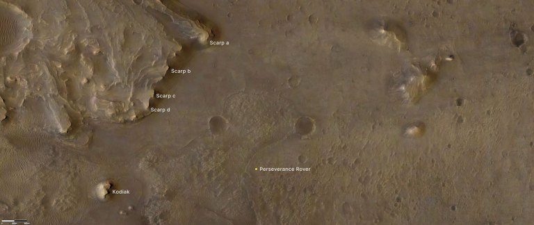 """This annotated image indicates the locations of NASA's Perseverance rover (lower right), as well as the """"Kodiak"""" butte (lower left) and several prominent steep banks known as escarpments, or scarps, along the delta of Jezero Crater."""