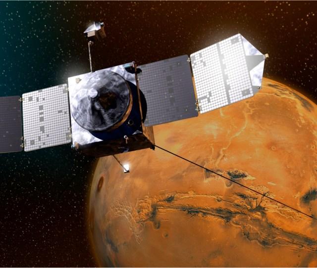 Artists Concept Of Nasas Maven Spacecraft Orbiting Mars