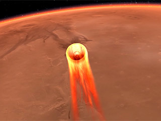 L'impressione di un artista di InSight's Entry, Descent and Landing (EDL).