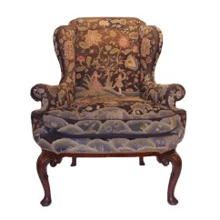 Queen Anne Wing Chair Folding Price In Pakistan 18th Century Walnut With Needlepoint Tapestry