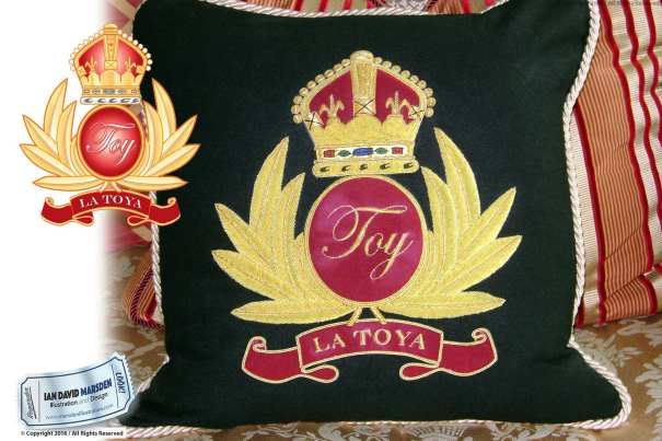 TOY La Toya Jackson Logo on pillow