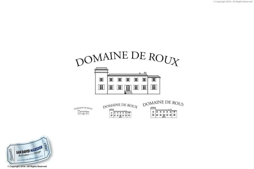 Domaine de Roux Winery Vigneron Logo Image of logo, character and mascot design by Ian David Marsden
