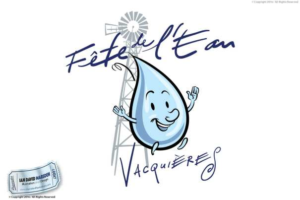 Vacuieres Fete de l'eau Image of logo, character and mascot design by Ian David Marsden