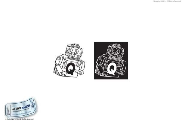 Q Robot Vector Art Image of logo, character and mascot design by Ian David Marsden