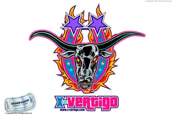 X vertigo Vector Bull Retro Image of logo, character and mascot design by Ian David Marsden