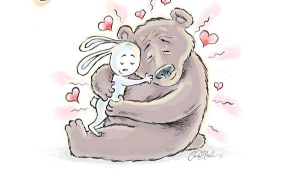 Hugging Bear and Bunny illustration by Ian Marsden