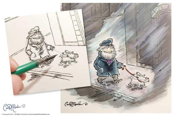 Old School Cartoon Original - Dip Pen and India Ink, Ecoline Watercolors