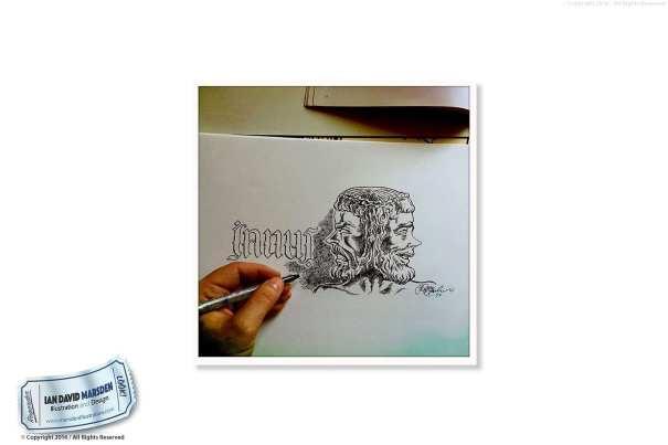 Sketchbook Drawing by illiustrator and cartoonist Ian David Marsden
