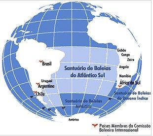 Santuário de baleias no Atlântico Sul