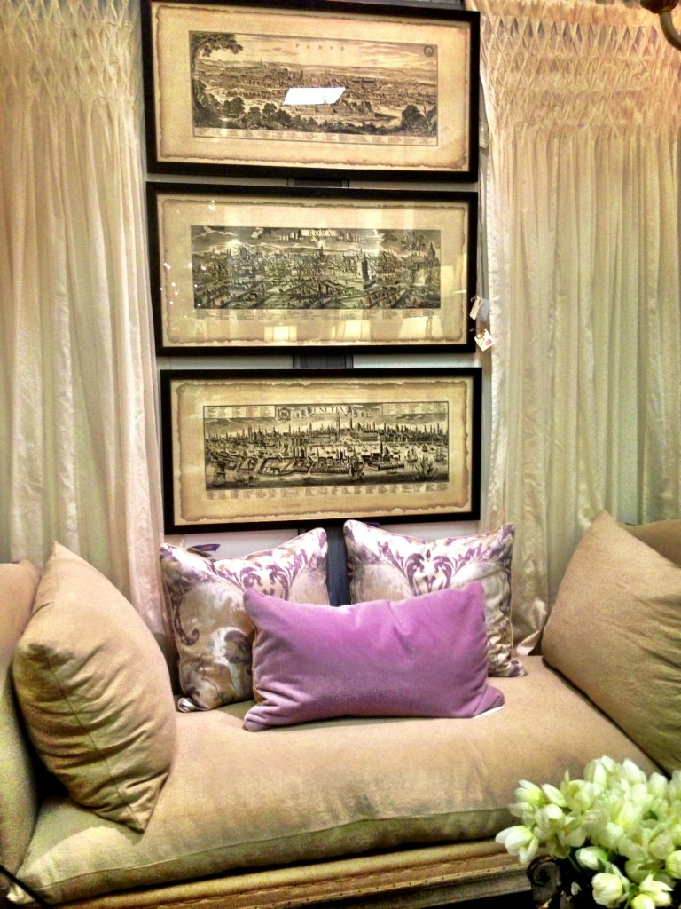 daybed, pillows, drapes