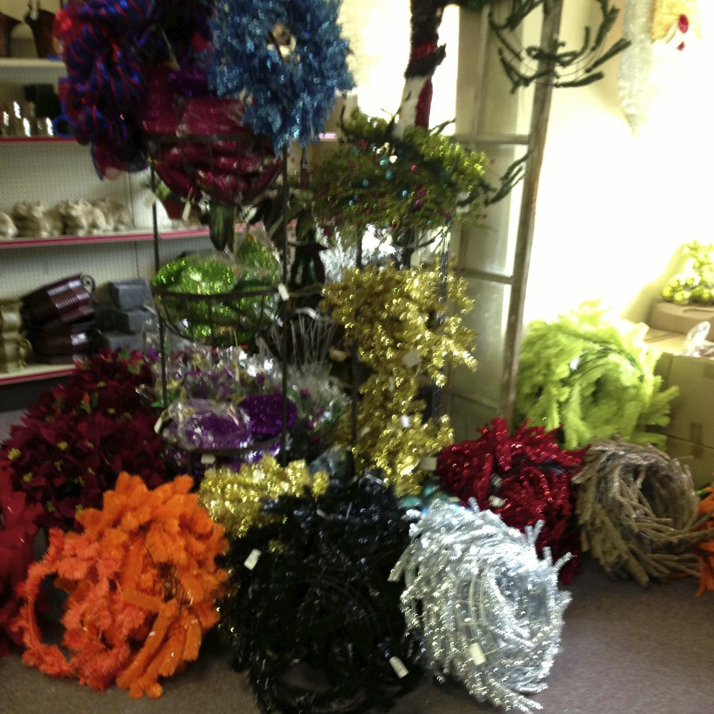 tinsel wreaths