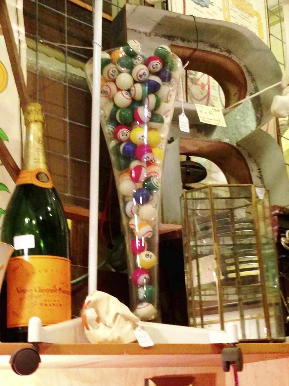 bingo balls, champagne bottle