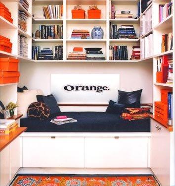 orange in sitting area