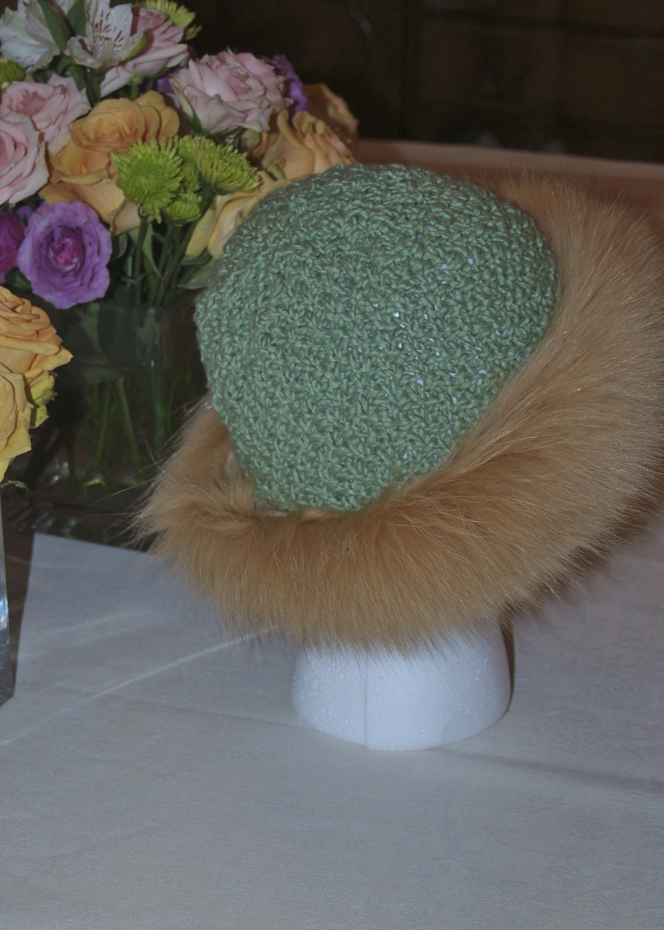 Fur and knit hat