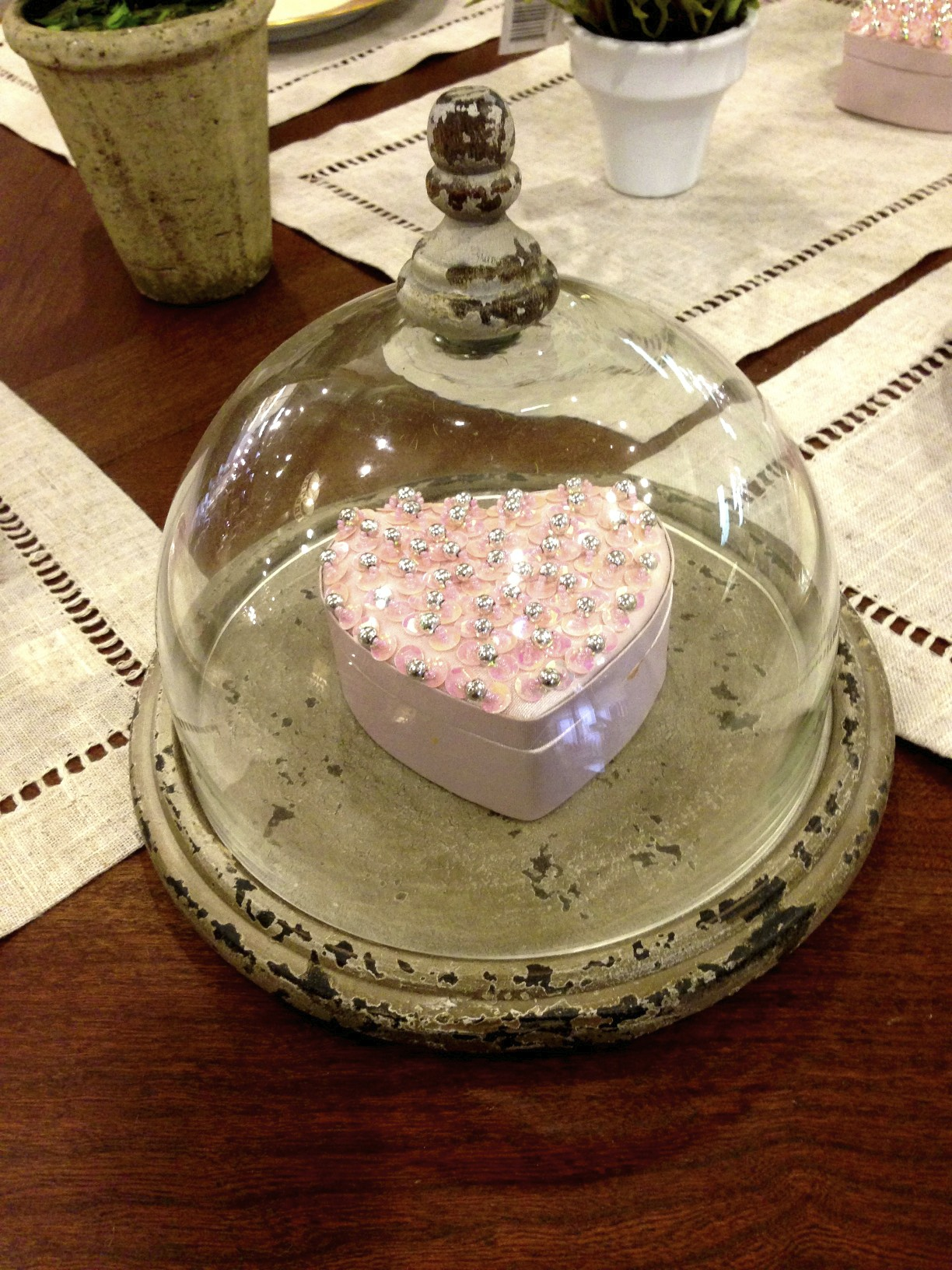 Valentine box under cloche
