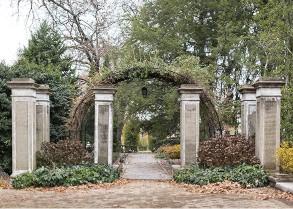 garden arch with stone pillars